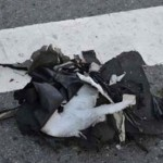 Remains of a black bag believed to have carried the explosives in Bostob Marathon attack